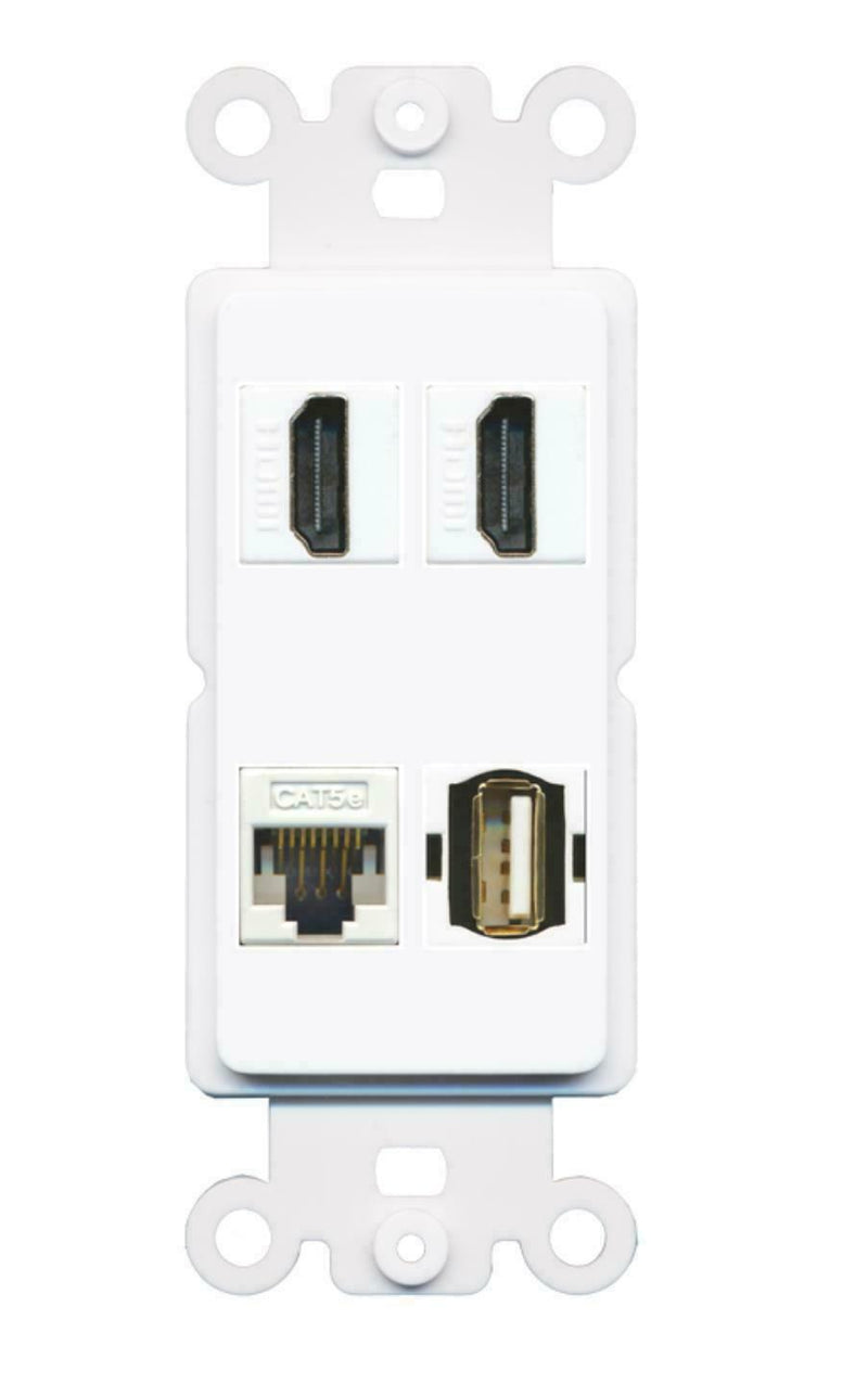 2 HDMI CAT5E USB A-A Port Wall Plate Insert White