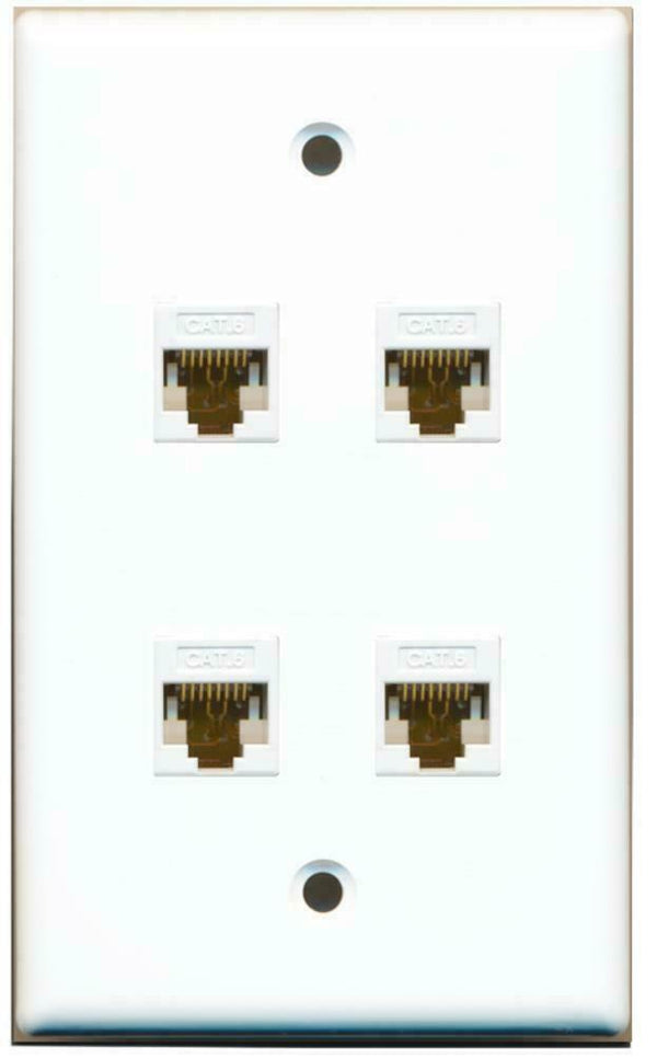 1 Gang Flat 4 Cat6 White Wall Plate White