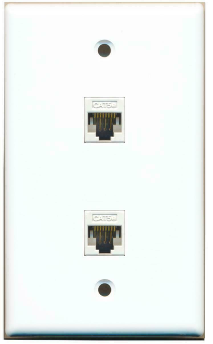 2 Port Cat5e Ethernet Network F/F Jack Wall Plate Flat White