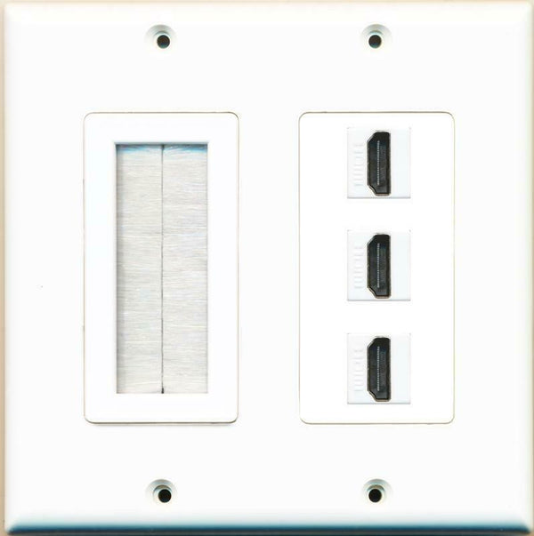 Brush and 3 HDMI Wall Plate White