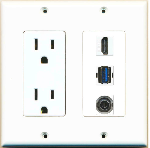 2 Gang 15 Amp Power Outlet HDMI USB 3.0 3.5mm Wall Plate White