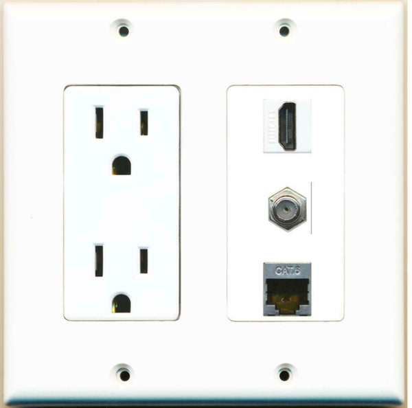 2 Gang 15 Amp Power Outlet HDMI Coax Shielded Cat6 Wall Plate White