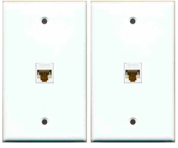 1 Gang Flat Cat6 Ethernet RJ45 Network Wall Plate White 2 Pack