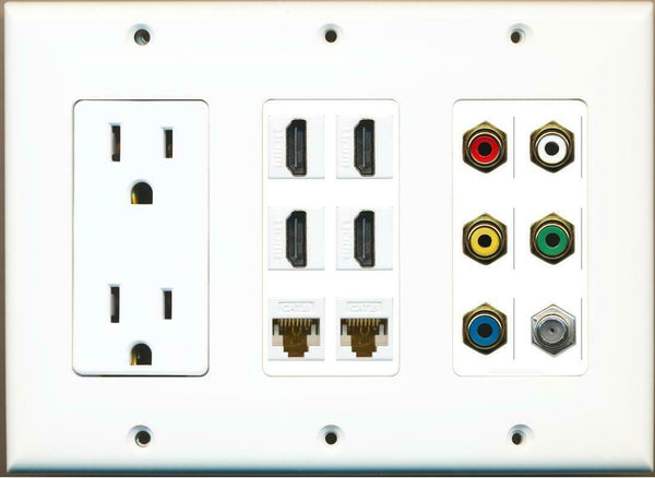 15A Power Outlet 4 HDMI 2 Cat6 5 RCA Red/White/Yellow/Green/Blue Coax Wall Plate
