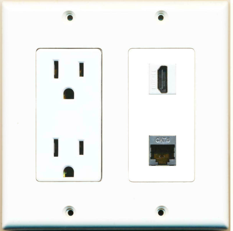 15 Amp Power Outlet and 1 Port HDMI Shielded Cat6 Ethernet Decora Wall Plate