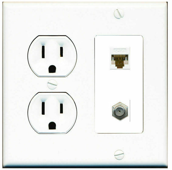 2 Gang Decorative 15 Amp  Round Power Outlet Coax Cat6 White Wall Plate White