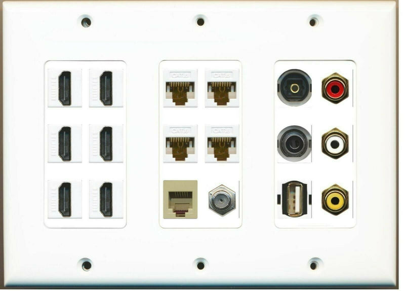 3 Gang 6 HDMI 4 Cat6 Ethernet Coax Phone Toslink 3xRCA USB A-A 3.5mm Wall Plate