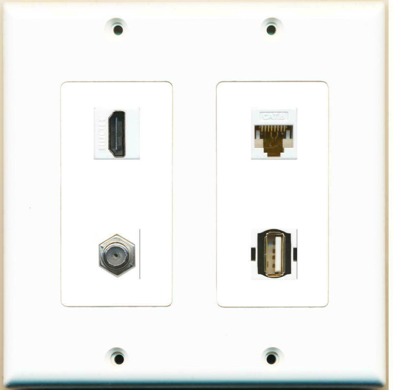 2 Gang Decorative HDMI Coax Cat6 White USB A-A Wall Plate White