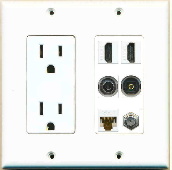 2 Gang 15A Power Outlet 2 HDMI Coax Cat6 3.5mm Toslink Wall Plate