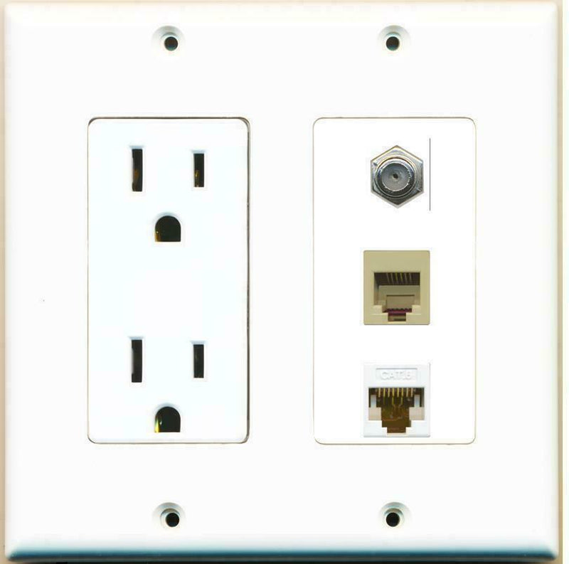 2 Gang 15 Amp Duplex Power Outlet Coax Cable Cat6 Rj11-12 Phone Wall Plate