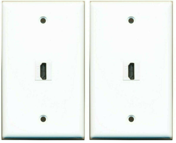 1 Port HDMI 2.0 Decora Type Wall Plate Flat Solid- White 2 Pack Lot