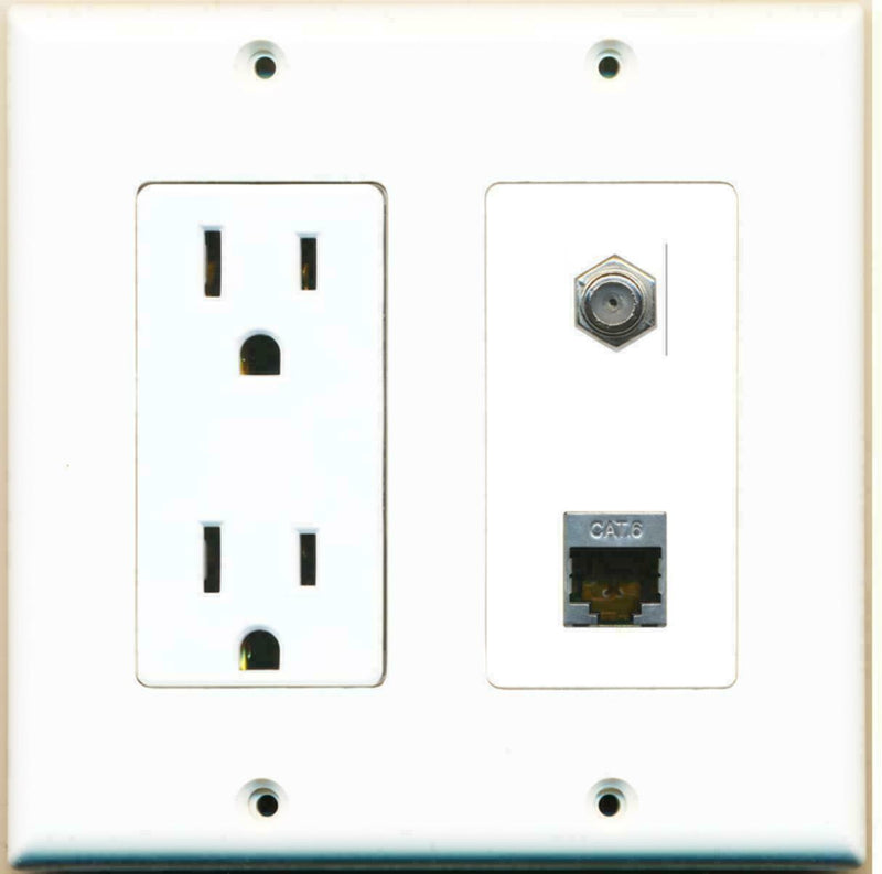 15 Amp Power Outlet Coax Cable TV- F-Type Shielded Cat6 Ethernet Wall Plate