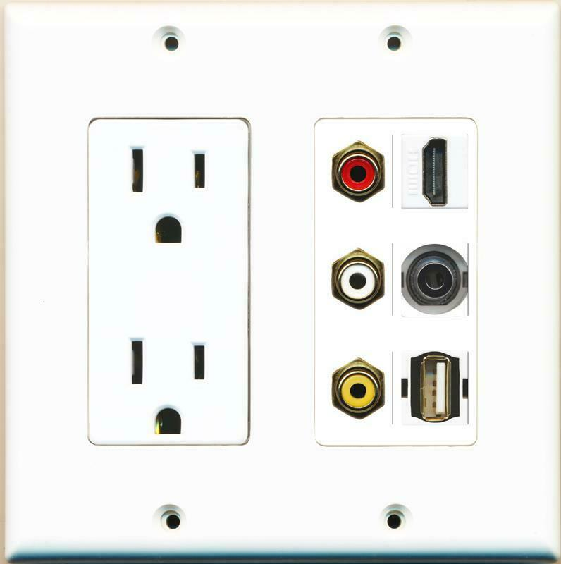 15A Power Outlet 3 RCA Red/White/Yellow HDMI 3.5MM USB A-A Wall Plate