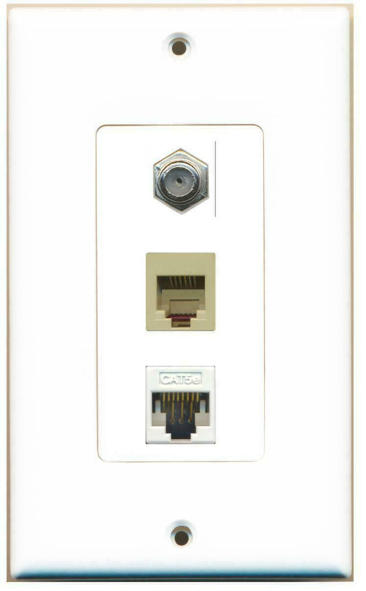 Coax Cable TV- F-Type Phone RJ11 RJ12 Beige Cat5e Ethernet Decorative Wall Plate