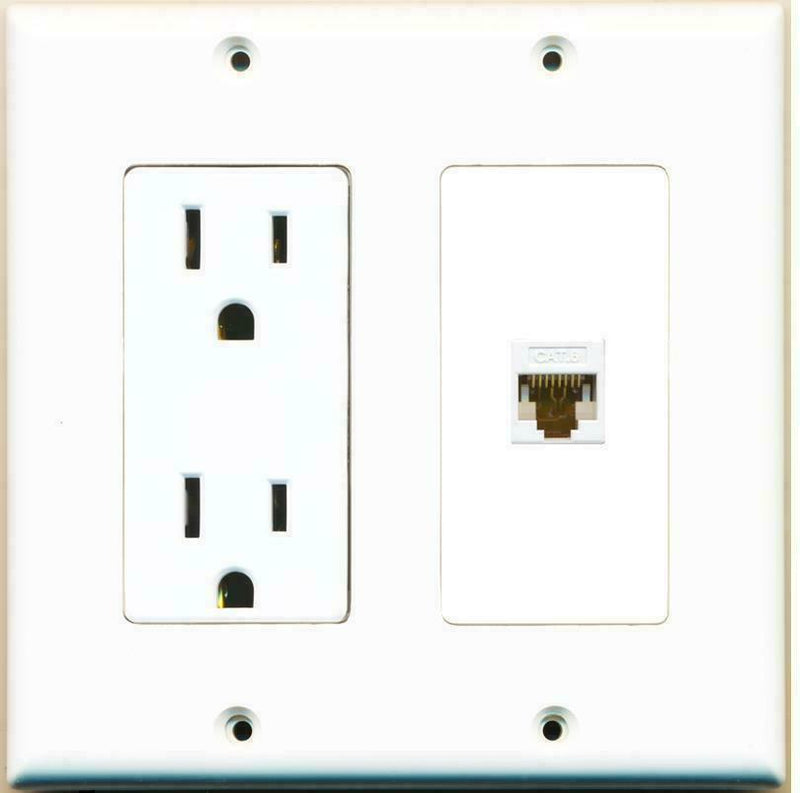 2 Gang 15 Amp Duplex Power Outlet Cat6 Coupler Wall Plate Hide Cables