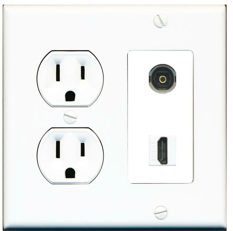 15 Amp Round Power Outlet 1 Port HDMI 1 Toslink-Optical-SPDIF Wall Plate