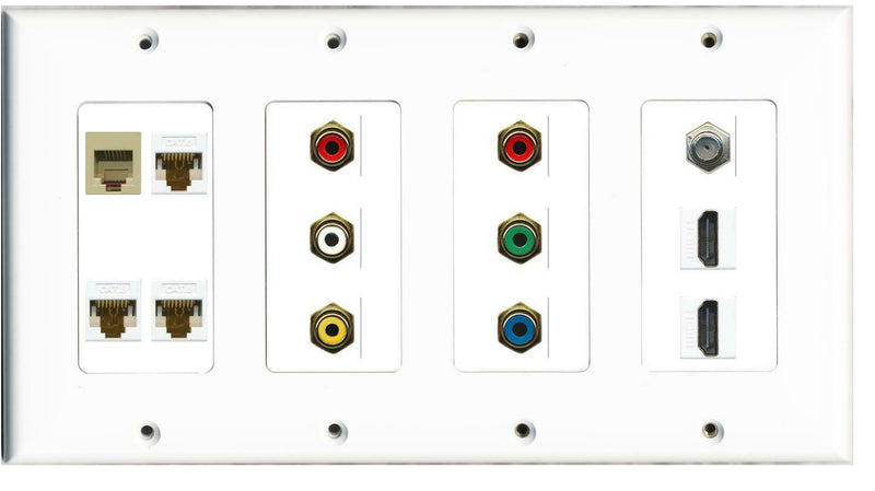 4 Gang 3 Cat6 Phone 6 RCA 2 Red 1xWhite/Yellow/Green/Blue 2 HDMI Coax Wall Plate