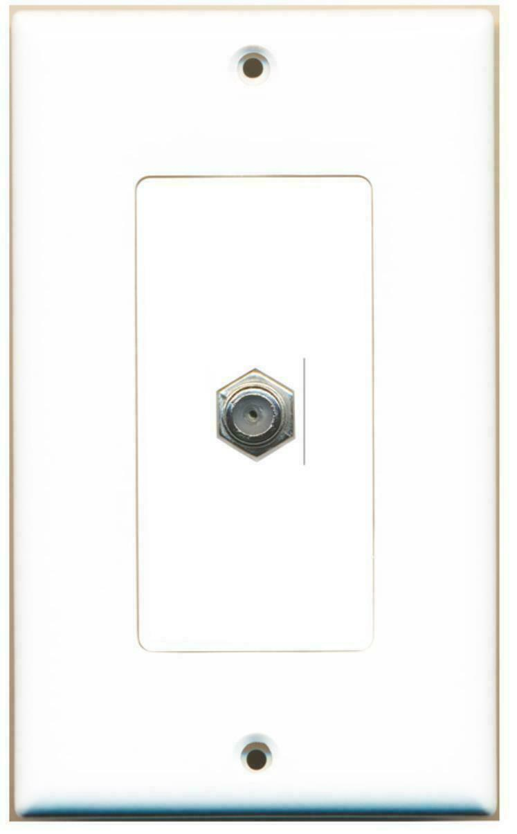 1 Coax Cable TV Port Wall Plate White Decorative