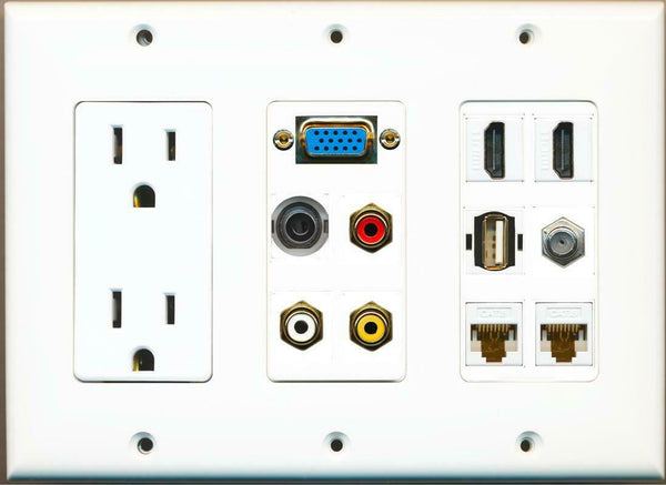 15A Power Outlet SVGA 3.5mm 3 RCA 2 HDMI USB A-A Coax 2 Cat6 Wall Plate