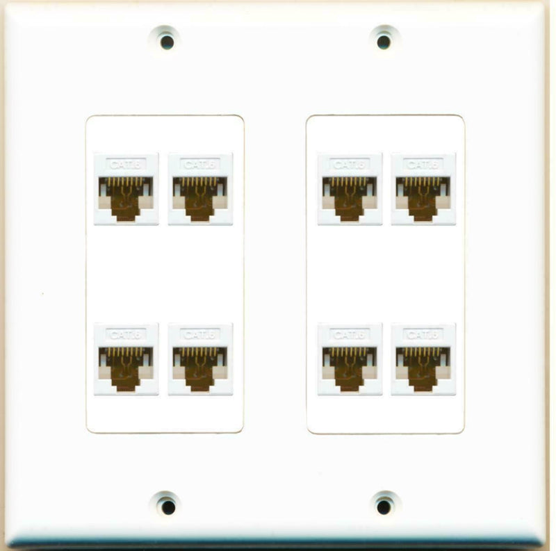 WPC 8 Port Decorative Dual 2 Gang Ethernet Cat6 RJ45 Network Wall Plate
