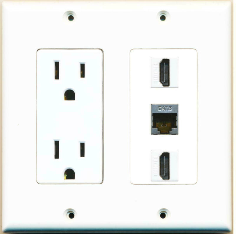 15 Amp Power Outlet 2 Port HDMI 1 Port Shielded Cat6 Ethernet Decora Wall Plate