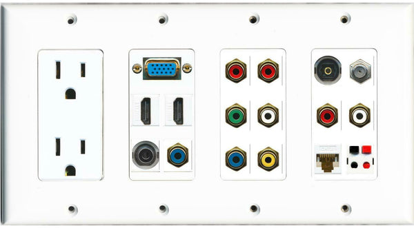 15A Power Outlet SVGA 2 HDMI 3.5mm 9 RCA Toslink Coax Cat6 Speaker Wall Plate