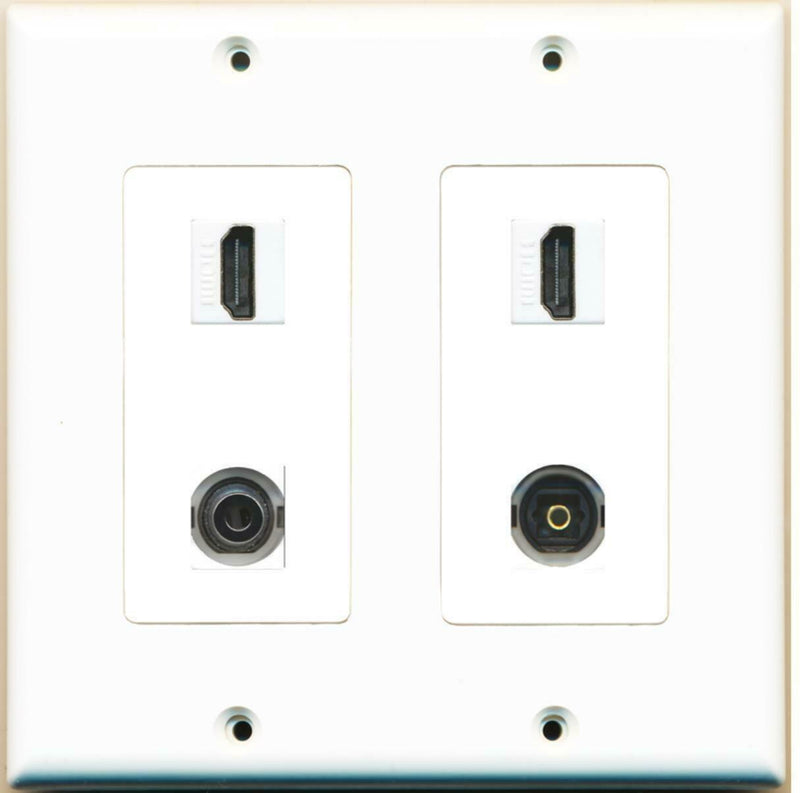 2 Gang Decorative 2 HDMI 3.5mm Toslink Wall Plate White
