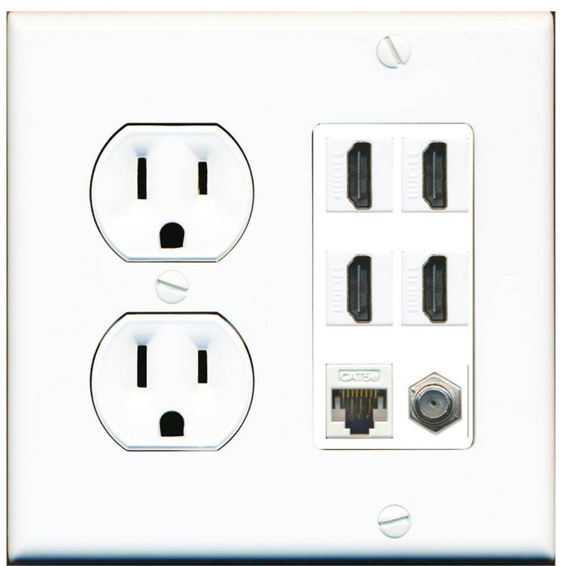 Round Power Outlet 4 Port HDMI 1 Coax Cable TV- F-Type Cat5e Ethernet Wall Plate