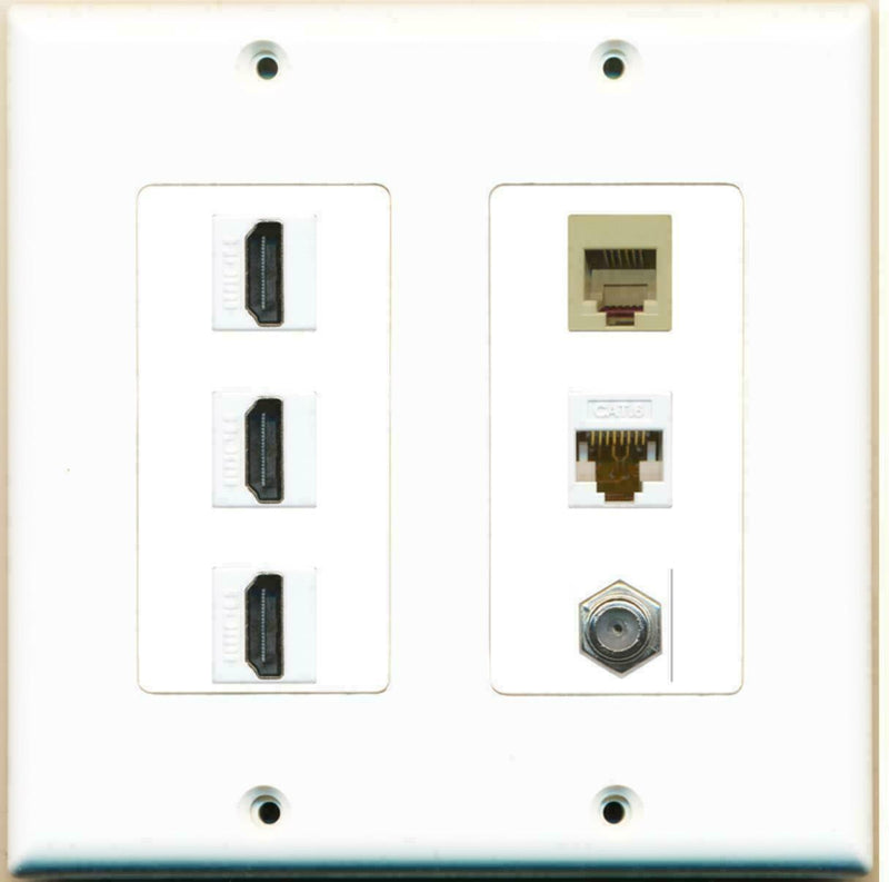 2 Gang Decorative 3 HDMI Coax Cat6 White Rj11-12 Phone Wall Plate White