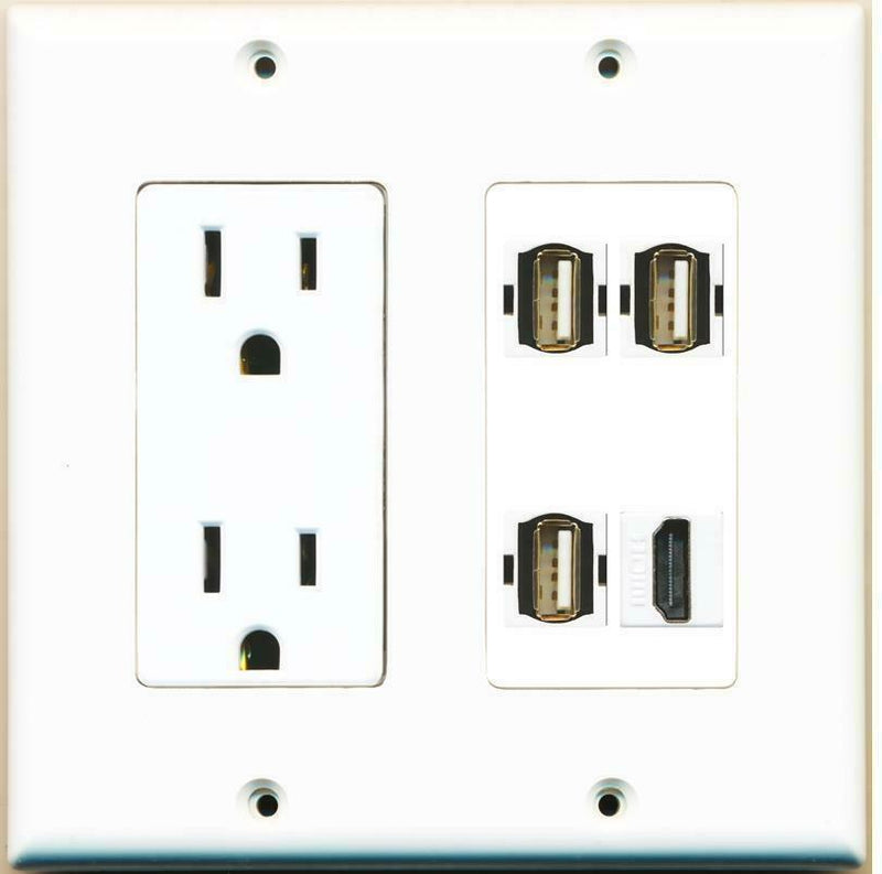 15 Amp Power Outlet 3 Port USB 2.0 A-A 1 HDMI F/F Jack Wall Plate White