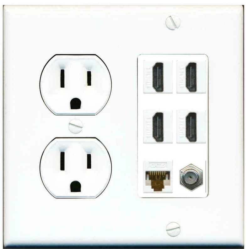 Round Power Outlet 4 Port HDMI 1 Coax Cable TV- F-Type Cat6 Ethernet Wall Plate