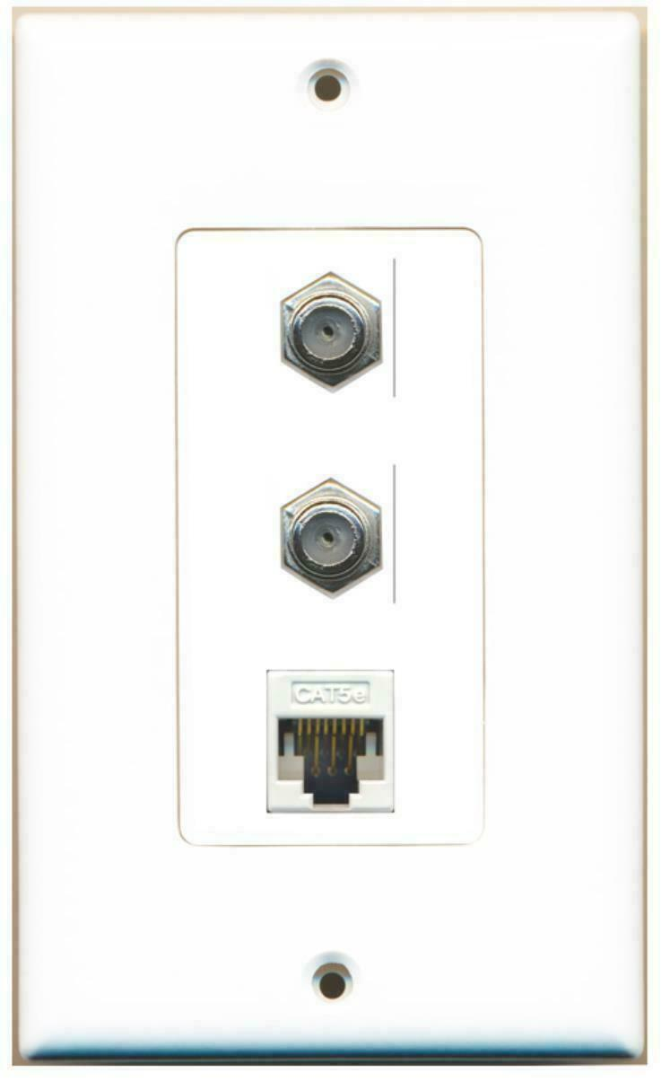 1 Gang Decorative 2 Coax Cat5e Wall Plate White
