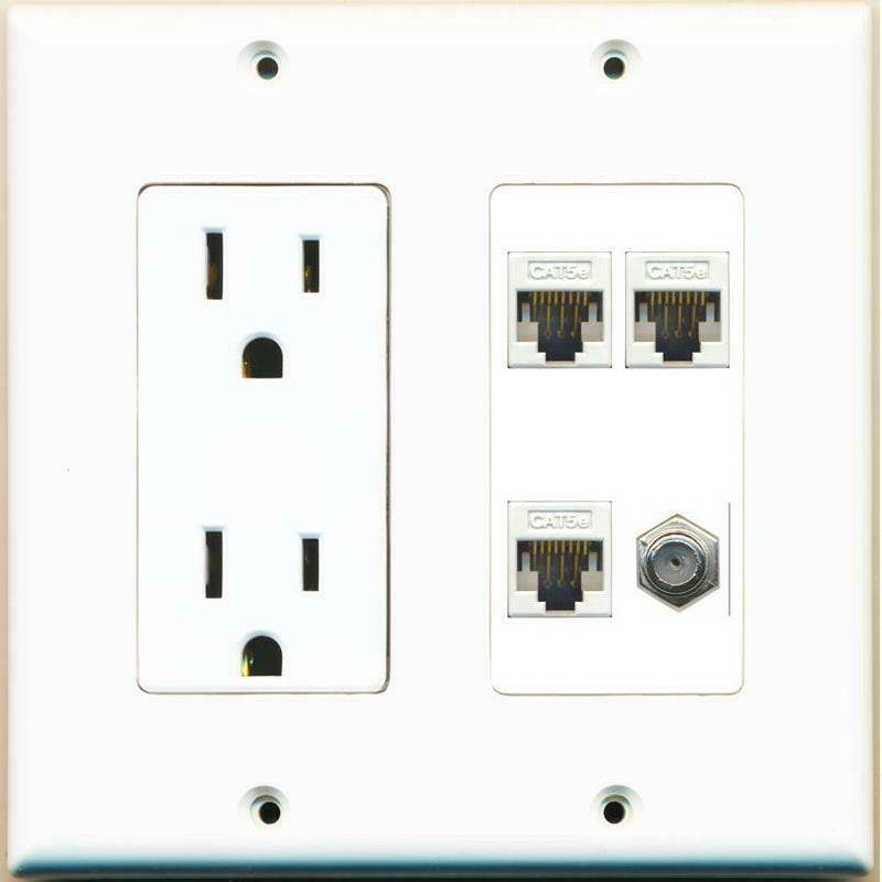 15A Power Outlet 3 Cat5e and 1 Coax Cable TV Wall Plate White