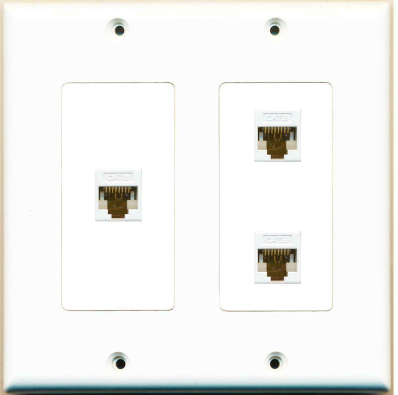 2 Gang Decorative 3 Cat6 White Wall Plate White