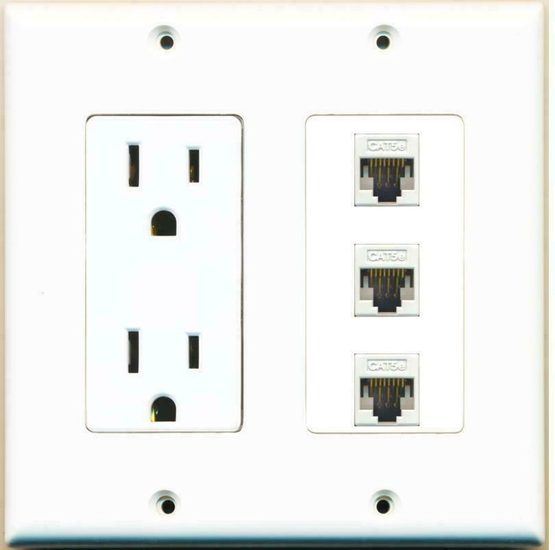 15 Amp Power Outlet 3 Port Cat5e Ethernet Jack F/F Wall Plate White