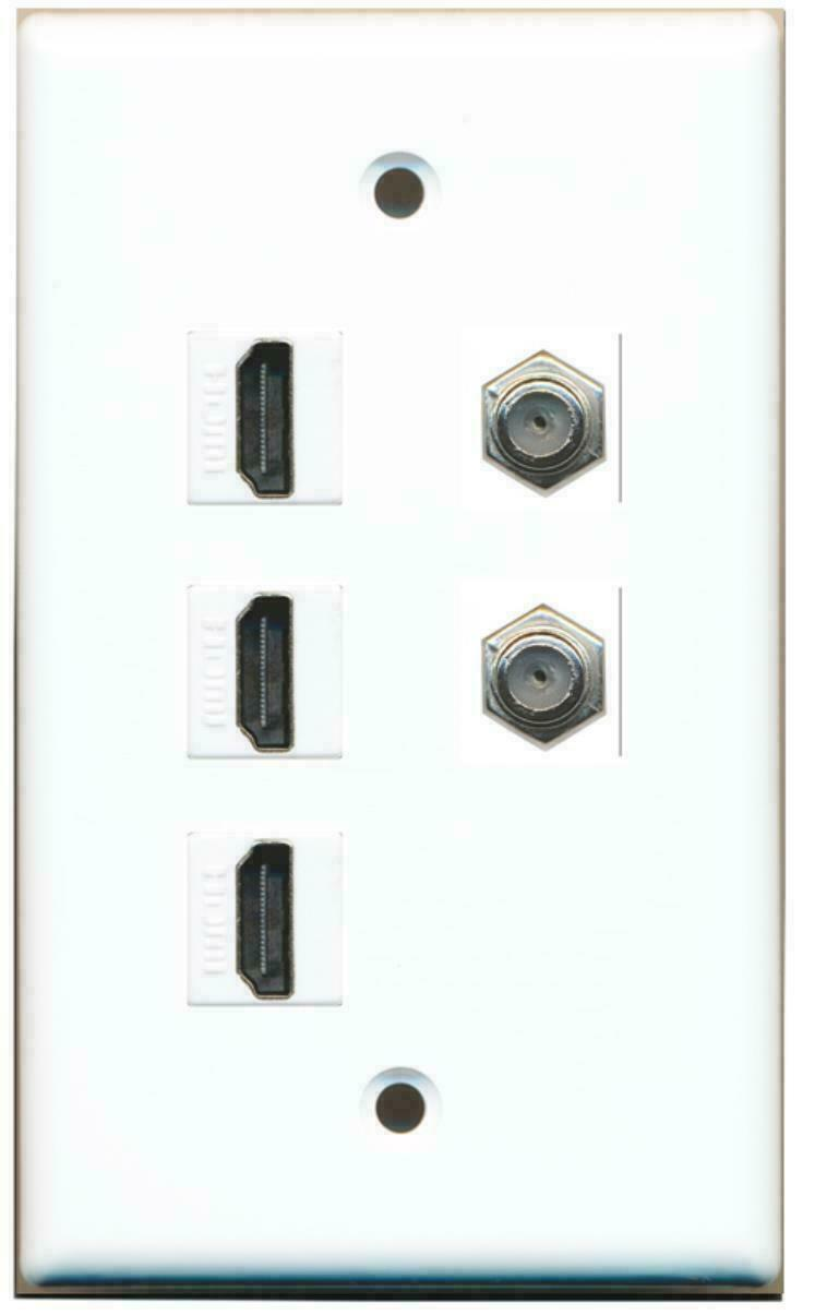 3 HDMI 1.4 - 2 Coax Cable TV Wall Plate White