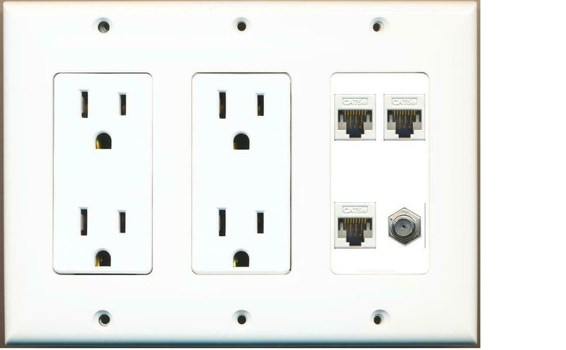 2 15A Power Outlets 3 Cat5e and 1 Coax Wall Plate White