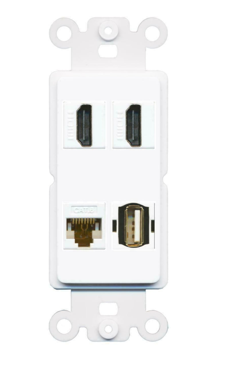 2 HDMI Cat6 USB A-A Port Wall Plate Insert White