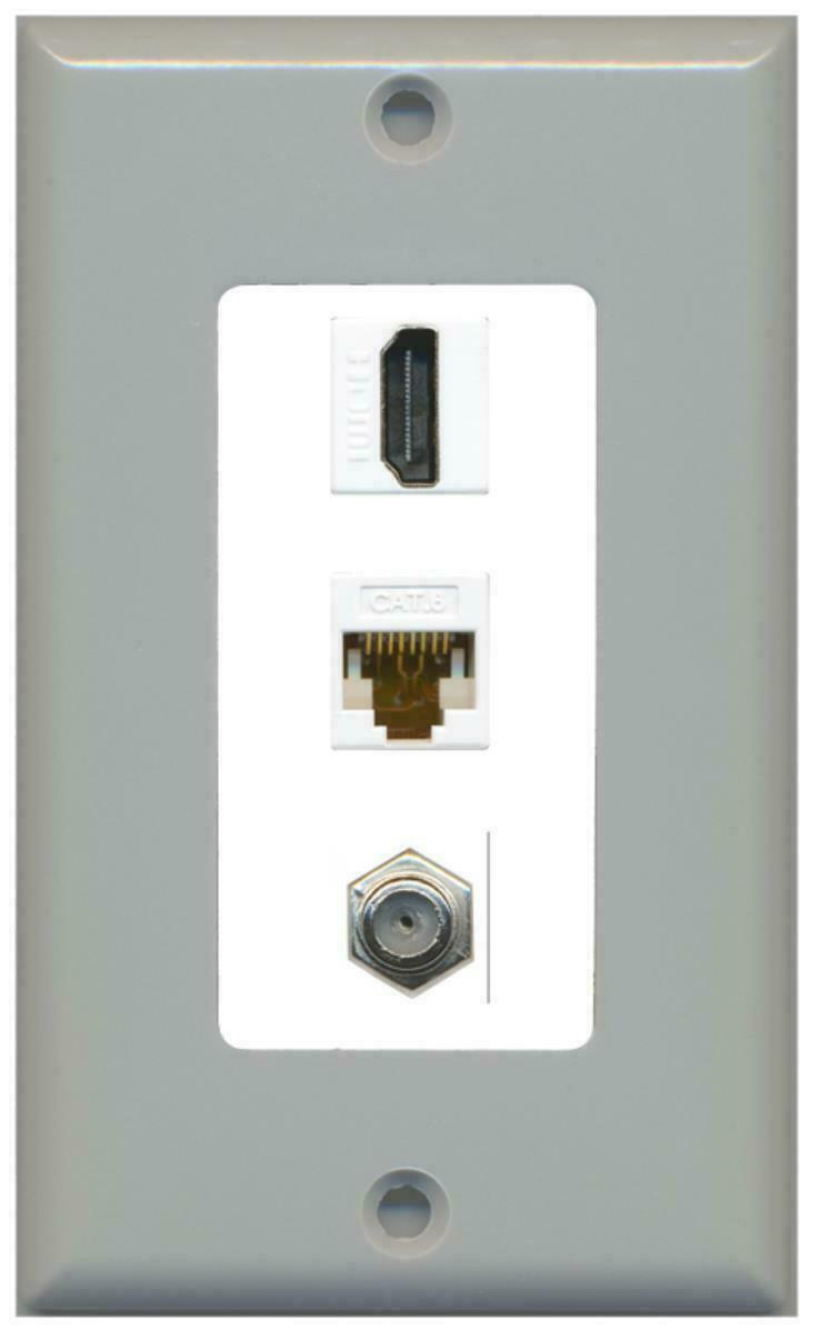 1 Port HDMI CAT6 COAX F/F 1 Gang Decorative Wall Plate Gray-White