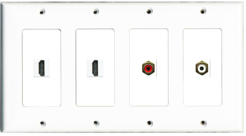 4 Gang 2 HDMI RCA Red/White Wall Plate White
