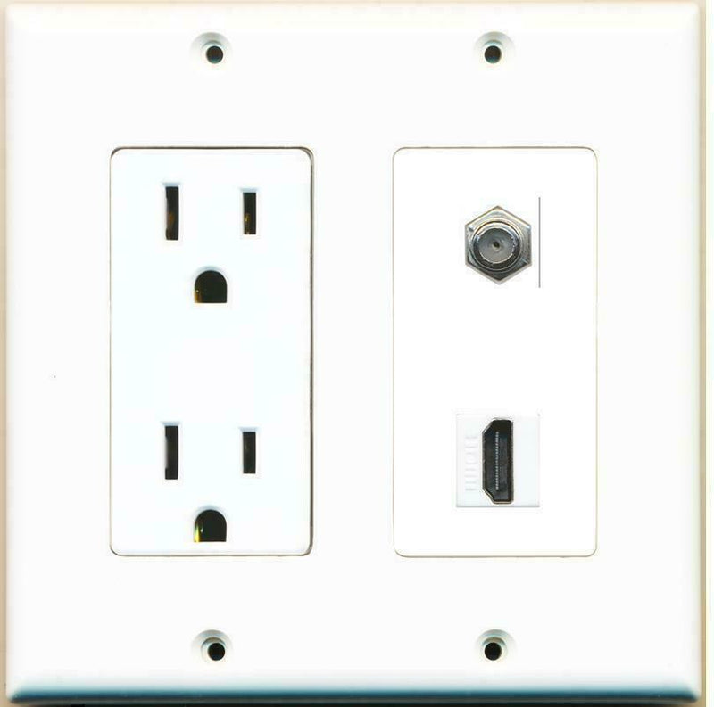 2 Gang 15 Amp Duplex Power Outlet HDMI Coax Cable Coupler Wall Plate