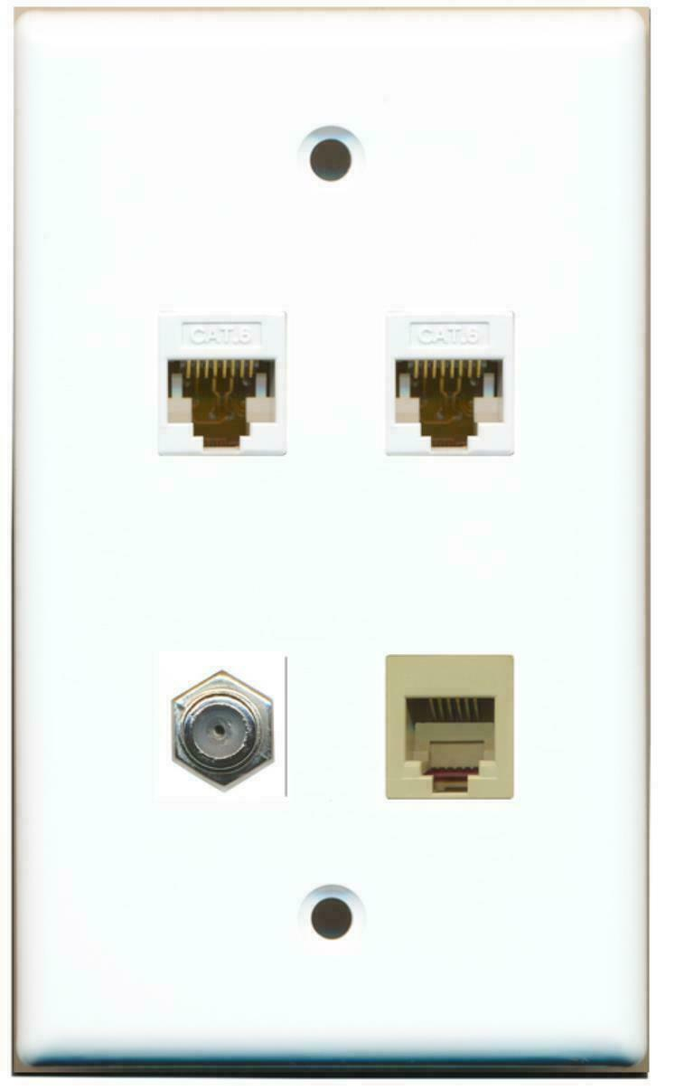 1 Coax Cable TV- F-Type Phone RJ11 RJ12 Beige 2 Port Cat6 Ethernet Wall Plate