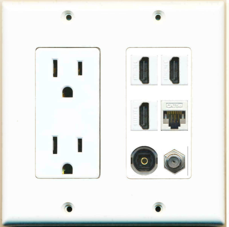 15A Power Outlet 3 HDMI White Coax Cat5E Toslink Wall Plate White