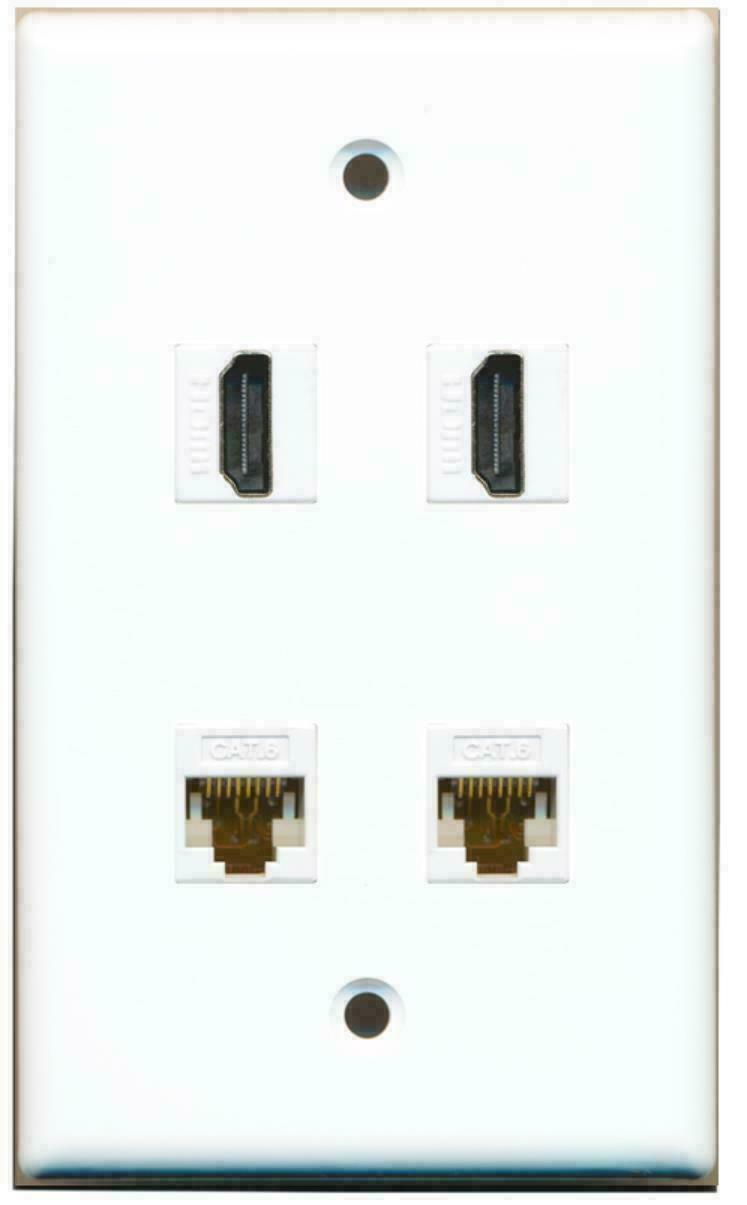 2 Port HDMI 2 Port Cat6 Ethernet White Wall Plate
