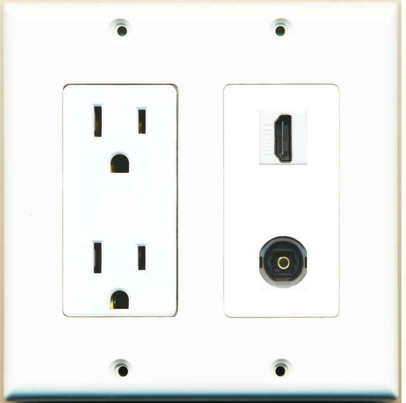 15 Amp Power Outlet HDMI Toslink Port Jack F/F Wall Plate White