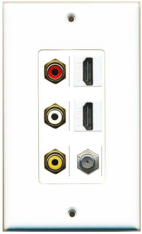 RCA Red White Yellow 2 HDMI Coax Wall Plate Decorative White