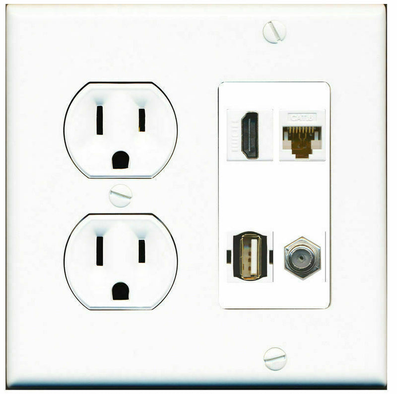 2 Gang Decorative 15 Amp  Round Power Outlet HDMI Coax Cat6 USB Wall Plate