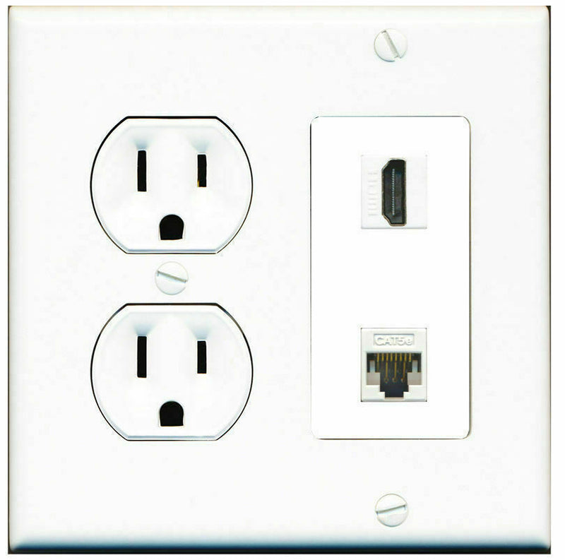 2 Gang Decorative 15 Amp  Round Power Outlet HDMI Cat5e White Wall Plate White