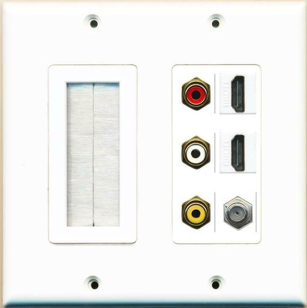 Brush and 3 RCA Red/White/Yellow 2 HDMI 1 Coax Wall Plate White
