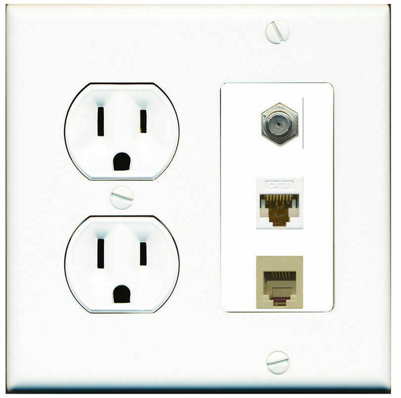 2 Gang Decorative 15 Amp  Round Power Outlet Coax Cat6 White Phone Wall Plate